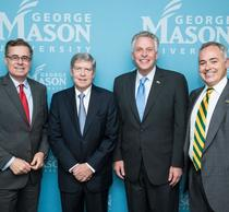 Photo of Mark Rozell, Dwight Schar, Terry McAuliffe, and Angel Cabrera