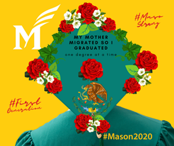 Canva artwork for George Mason University students to decorate a graduation cap